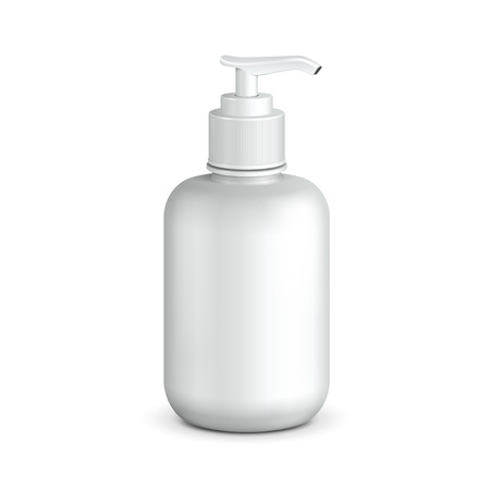 liquid soap: Gel, Foam Or Liquid Soap Dispenser Pump Plastic Bottle White  Ready For Your Design  Product Packing Vector EPS10