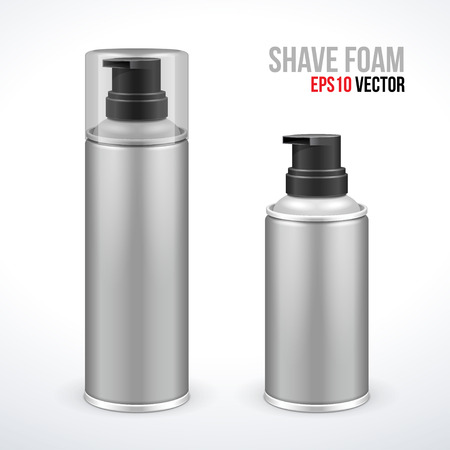 Two Gray Shave Foam Aerosol Spray Metal 3D Bottle Can   Vector