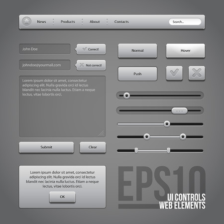 shiny buttons: Gray UI Controls Web Elements  Buttons, Comments, Sliders, Message Box  Illustration