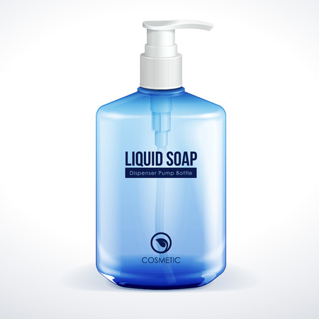 jabon liquido: Dispensador de la bomba o de cosmética Higiene de cristal azul botella de gel, jabón líquido, loción, crema, champú Vector