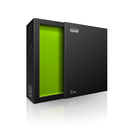 software box: Opened Black Modern Software Package Box Green Inside For DVD, CD Disk Or Other Your Product  Illustration