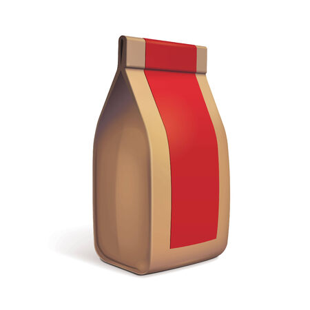 coffee bag: Paper Bag Package Of Coffee, Salt, Sugar, Pepper, Spices Or Flour, Filled, Folded, Close, Brown With Red Label
