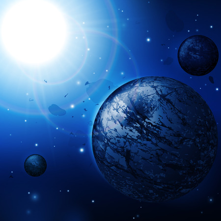 Abstract Deep Space Science Background  Planets, Stars, Lights, Sun, Sunrise, Satellite, Alien  Vector