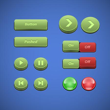 player controls: Botones elevados Verde Y Roja UI controles Web Elements Botones, Selectores, On, Off, DVD, Audio, Video Play, Stop, Siguiente, Pausa, Arrows Vectores