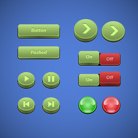 stop light: Raised Buttons Green And Red UI Controls Web Elements  Buttons, Switchers, On, Off, Player, Audio, Video  Play, Stop, Next, Pause, Arrows  Illustration