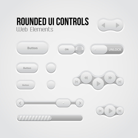 player controls: Rounded Light UI Controls Web Elements  Buttons, Switchers, On, Off, Player, Audio, Video  Play, Stop, Next, Pause, Volume, Equalizer, Slider, Loader, Progress Bar, Bulb