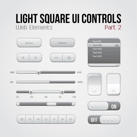 Light Square UI Controls Web Elements Part 2  Buttons, Switchers, On, Off, Player, Play List, Slider, Audio, Video  Play, Stop, Next, Pause, Volume, Equalizer, Arrows  Vector