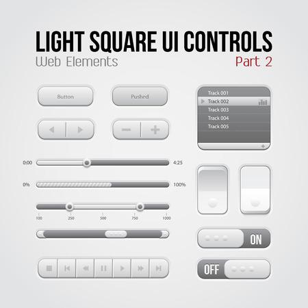 player controls: Luz Plaza UI Controles Elementos Web Part 2 botones, conmutadores, On, Off, jugador, Lista, Slider, Play Audio, Video Play, Stop, Siguiente, pausa, volumen, ecualizador, Arrows Vectores