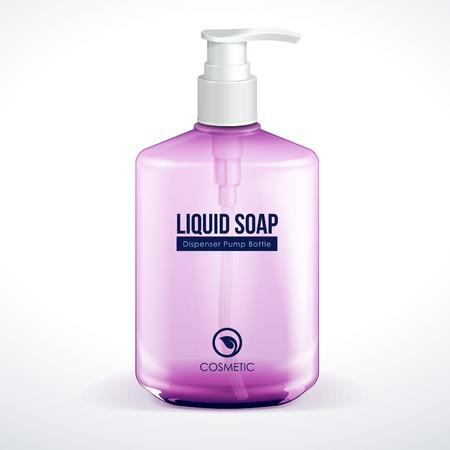 violet red: Dispenser Pump Cosmetic Or Hygiene Purple Violet Red Pink Glass Bottle Of Gel, Liquid Soap, Lotion, Cream, Shampoo  Vector EPS10  Illustration