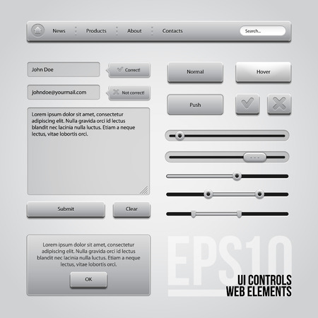 submit: Light Gray UI Controls Web Elements  Buttons, Comments, Sliders, Message Box