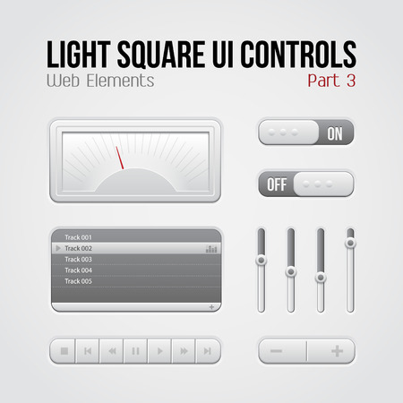 Light Square UI Controls Web Elements Part 3  Buttons, Switchers, On, Off, Player, Play List, Slider, Audio, Video  Play, Stop, Next, Pause, Volume, Equalizer, Speed Indicator, Speedometer  Illustration