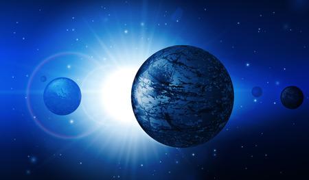 Abstract Deep Space Background  Planets, Stars, Lights, Sun, Sunrise, Satellite, Alien Vector  Vector