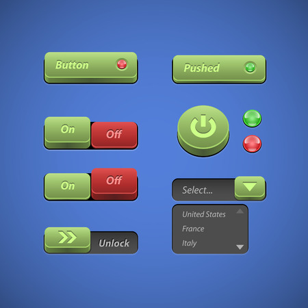 Raised Buttons Green And Red UI Controls Web Elements  Buttons, Switchers, On, Off, Player, Audio, Video  Play, Stop, Next, Pause, Arrows, Unlock, Drop-down List  Vector