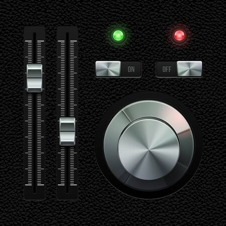 player controls: Hi-End UI Analog Volume Equalizer Level Mixer, Volume Knob Chrome On Leather Background  Metal Switch Button, Lamp, Bulb  Web Design Elements  Software Controls  Vector User Interface