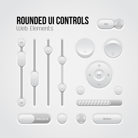 Rounded Light UI Controls Web Elements  Buttons, Switchers, On, Off, Player, Audio, Video  Player, Volume, Equalizer, Slider, Loader, Progress Bar, Bulb, Unlock  Vector