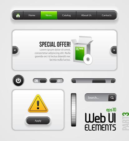 Web UI Elements Design Gray Green  Part 3  Navigation Bar, Menu, Slider, Power Button, Search, Scroller, Switcher, On, Off, Dialog Window