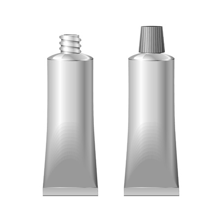 adhesive: Two Metal Tube Open And Closed  Glue, Cream, Toothpaste, Paint  Vector EPS10