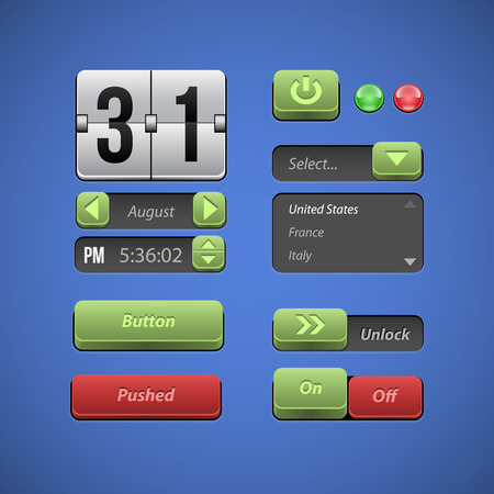drop down: Raised Buttons Green And Red UI Controls Web Elements  Buttons, Switchers, On, Off, Drop Down List, Arrows, Calendar, Date, Time, Clock  Illustration