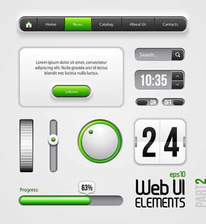 Web UI Elements Design Gray Green  Part 2  Vector