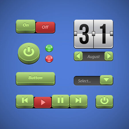 player controls: Raised Buttons Green And Red UI Controls Web Elements  Buttons, Switchers, On, Off, Player, Audio, Video  Play, Stop, Next, Pause, Arrows, Calendar, Date