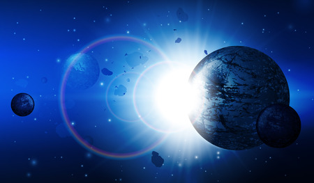 Abstract Deep Space Science Background  Planets, Stars, Lights, Sun, Sunrise, Satellite, Alien Vector  Vector
