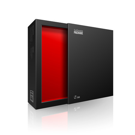 Opened Black Modern Software Package Box Red Inside For DVD, CD Disk Or Other