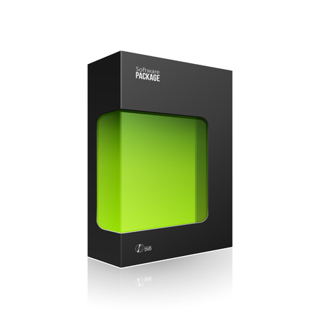 grayscale: Black Modern Software Product Package Box With Green Window For DVD Or CD Disk