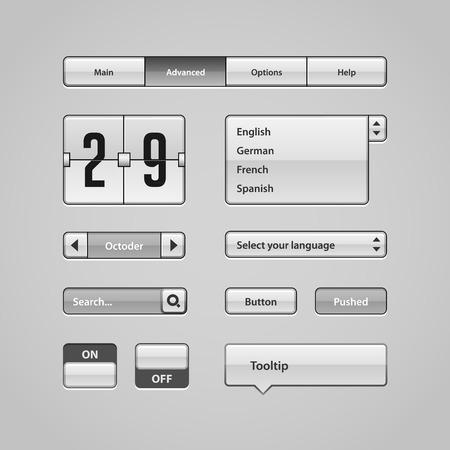 Clean Light User Interface Controls 4  Web Elements  Website, Software UI  Buttons, Switchers, Arrows, Drop-down, Navigation Bar, Menu, Tooltip, Date, Calendar, Search  Vector