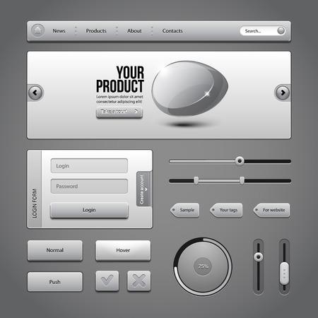 autorizacion: Gray UI Controles Elementos Web 3 botones, Formulario de acceso, autorizaci�n, Sliders, Banner, Box, Preloader, palas cargadoras, etiquetas de la etiqueta Vectores