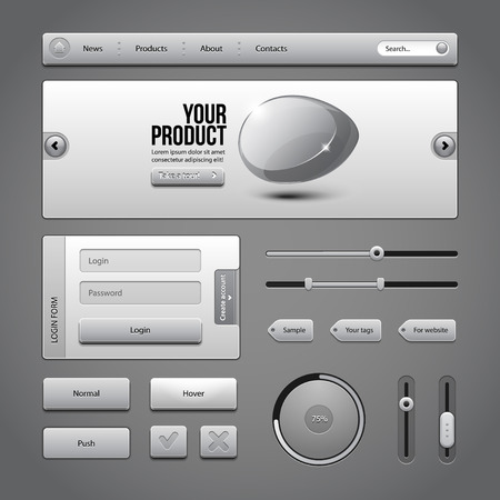 Gray UI Controls Web Elements 3  Buttons, Login Form, Authorization, Sliders, Banner, Box, Preloader, Loader, Tag Labels  Vector