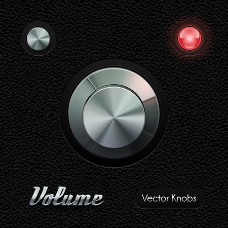 controls: Hi-End UI Analog Volume Knob Chrome On Leather Background  Metal Button, Red Lamp, Bulb.  Web Design Elements.  Software Controls