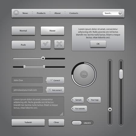 Gray UI Controls Web Elements 2  Buttons, Comments, Sliders, Message Box, Preloader, Loader, Tag Labels, Unlock  Vector