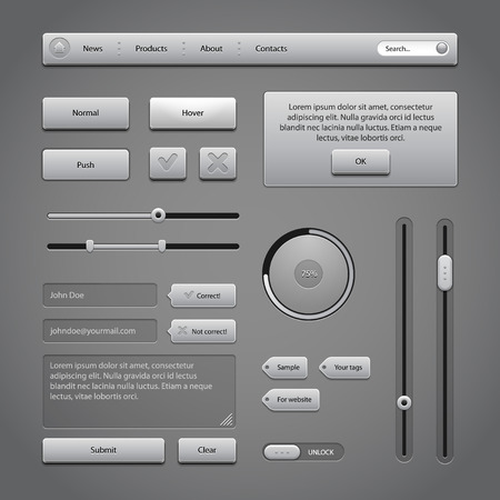 Gray UI Controls Web Elements 2  Buttons, Comments, Sliders, Message Box, Preloader, Loader, Tag Labels, Unlock