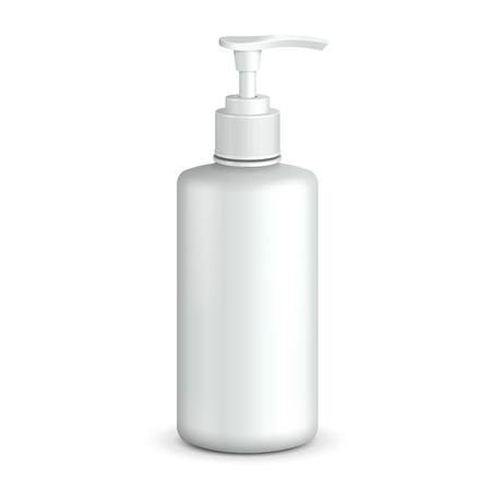 Gel, Foam Or Liquid Soap Dispenser Pump Plastic Bottle White.  Ready For Your Design.  Product Packing.