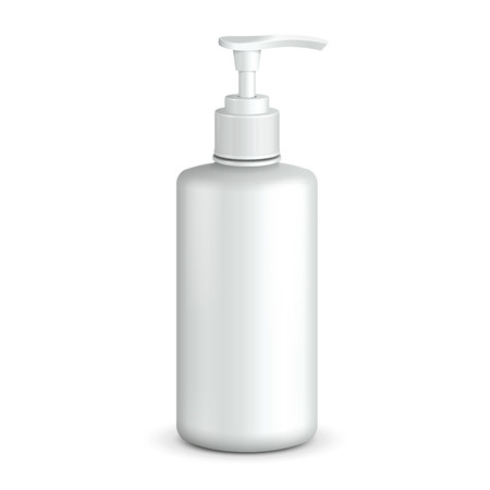 Gel, Foam Or Liquid Soap Dispenser Pump Plastic Bottle White.  Ready For Your Design.  Product Packing.