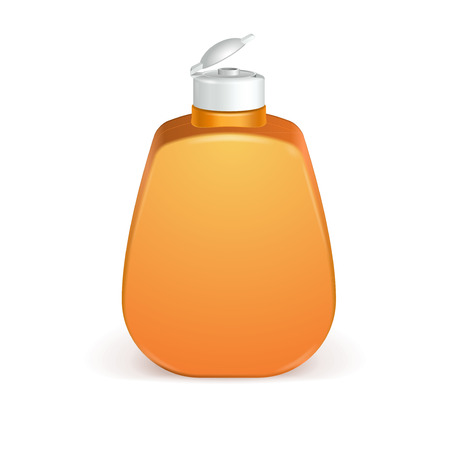 shave: Open Cosmetic Or Hygiene Orange, Yellow Plastic Bottle Of Gel, Liquid Soap, Lotion, Cream, Shampoo  Ready For Your Design.  Illustration Isolated On White Background. Illustration