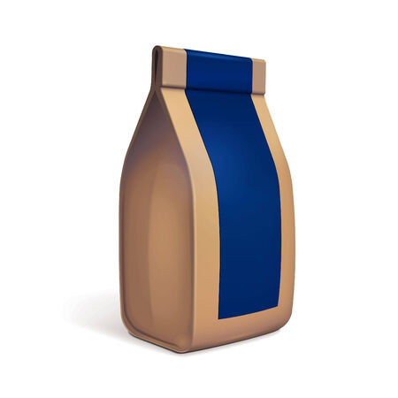 coffee bag: Paper Bag Package Of Coffee, Salt, Sugar, Pepper, Spices Or Flour, Filled, Folded, Close, Brown With Blue Label.  Ready For Your Design.  Snack Product Packing.