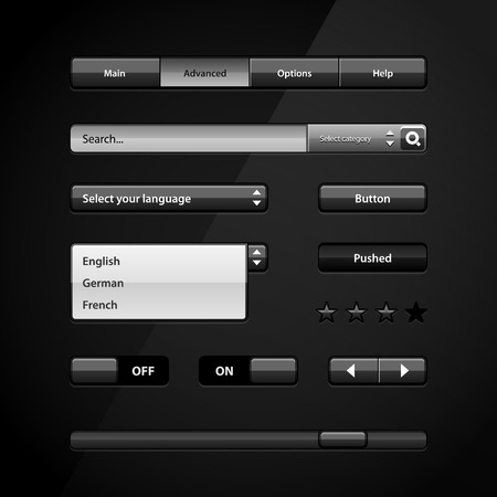 Clean Dark User Interface Controls 2  Web Elements  Website, Software UI  Buttons, Switchers, Slider, Arrows, Drop-down, Navigation Bar, Menu, Scroller, Input Search  Vector