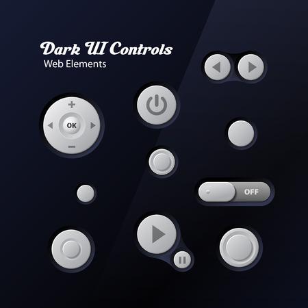 Dark UI Controls Web Elements  Buttons, Switchers, Player, Audio, Video  Play, Stop, Next, Pause  Illusztráció