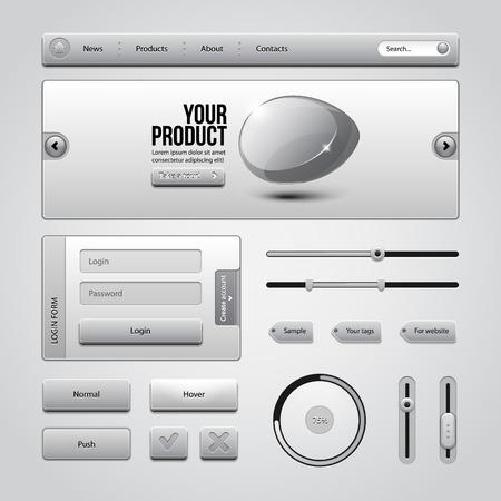 Light Gray UI Controls Web Elements 3  Buttons, Login Form, Authorization, Sliders, Banner, Box, Preloader, Loader, Tag Labels  Vector