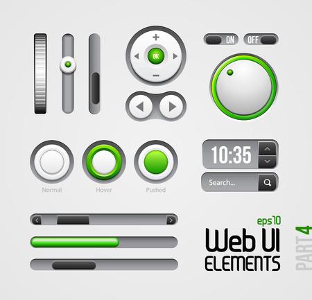 search button: Web UI Elements Design Gray Green  Part 4