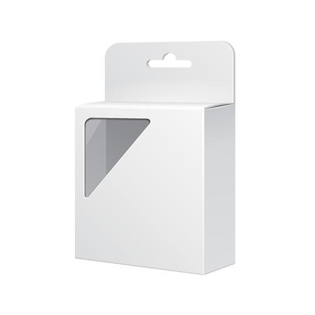 white boxes: White Product Package Box With Rectangular Window  Illustration Isolated On White Background   Illustration