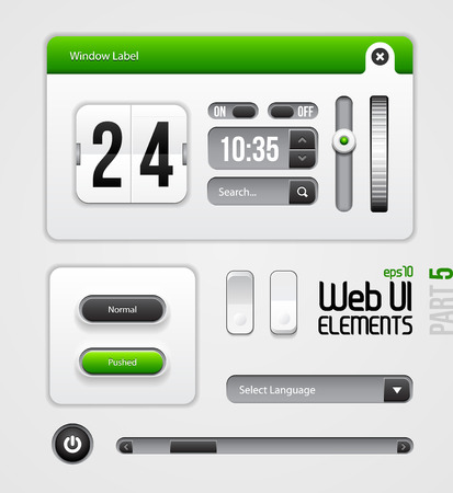 Web UI Elements Design Gray Green  Part 5