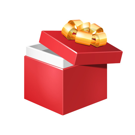 Half Opened Red Square Gift Box With Golden Ribbon Bow, Isolated On White Background   Illustration