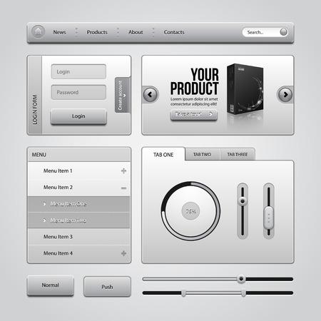 autorizacion: Light Gray UI Controls Web Elementos 4 botones, Formulario de acceso, autorizaci�n, Sliders, Banner, Caja, Preloader, Loader, Acorde�n, Men�, aqu�, Buscar