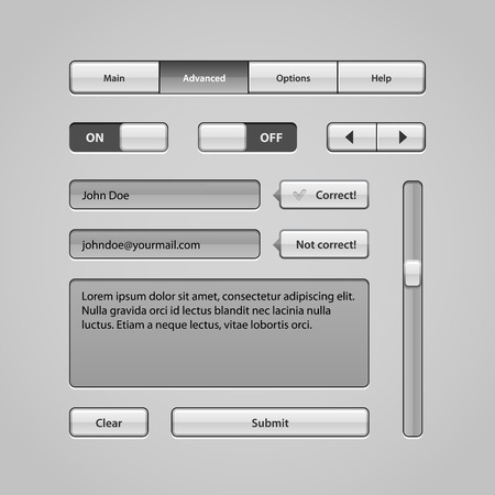 Clean Light User Interface Controls 5  Web Elements  Website, Software UI  Buttons, Switchers, Arrows, Navigation Bar, Menu, Search, Comments, Scroll, Scrollbar, Input, Text Box Area  Vector