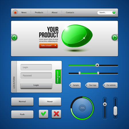 authorization: Colored UI Controls Web Elements 3  Buttons, Login Form, Authorization, Sliders, Banner, Box, Preloader, Loader, Tag Labels  Illustration