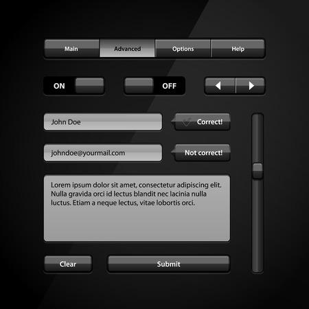 scrollbar: Clean Dark User Interface Controls 5  Web Elements  Website, Software UI  Buttons, Switchers, Arrows, Navigation Bar, Menu, Search, Comments, Scroll, Scrollbar, Input, Text Box Area