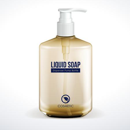 jabon liquido: Dispensador de la bomba o de cosmética Higiene de cristal de Brown Botella De Gel, jabón líquido, loción, crema, champú Vector