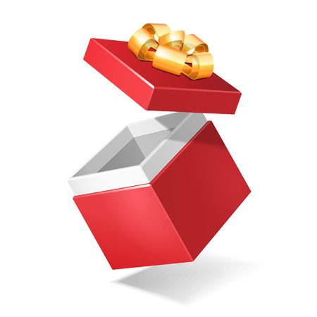 Fly Opened Red Square Gift Box With Golden Ribbon Bow, Isolated On White Background  Vector EPS10  Illustration